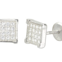 Micropave Stud Earrings Sterling Silver 6mm Square Screwback CZ Studs
