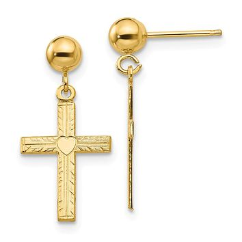 13mm Heart Cross Dangle Post Earrings in 14k Yellow Gold