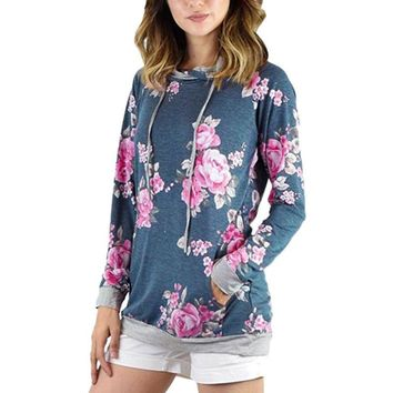 Women Autumn Hoodies Floral Printed Hooded Sweatshirt Pocket Pullover Black Outwear Casual Female Top Shirt