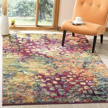Safavieh Monaco Collection MNC225D Modern Abstract Watercolor Pink and Multi Area Rug (3' x 5')