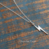 Sterling Silver Lightning Bolt Necklace, Minimalist Jewelry, Tiny Charm Long Necklace