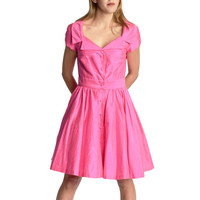 Vintage Nicole Miller Hot Pink Shirtwaist Dress