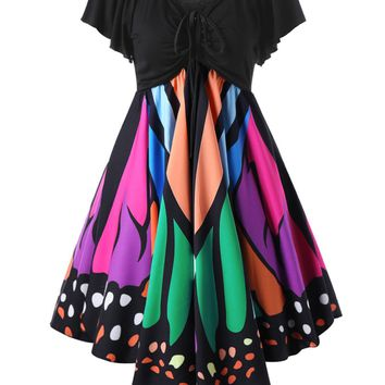 Multi-Colored Short Sleeve Butterfly Straps Dress