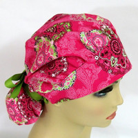 Womens Bouffant Surgical Scrub Hat or Cap Serendipity Medallion Burst Paisley