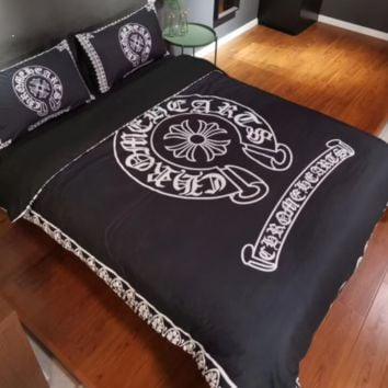 Comfortable Chrome Hearts 4 PC Bedding Set Conditioning Throw Blanket Quilt For Bedroom Living Rooms Sofa