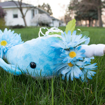 Blue Flower Narwhal Stuffed Animal Plush Toy Plush, One of a Kind, Spring Flower Narwhal
