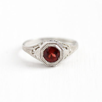 Antique Art Deco Sterling Silver Garnet Ring - Vintage 1920s Size 5 Dark Red Gemstone Solitaire Flower Filigree January Birthstone Jewelry