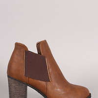 Dollhouse Elastic Gore Chunky Heeled Ankle Boots