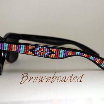Beaded Sunglasses Native American Tribal Print Beadwork