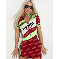 Fendi Summer New Fashion More Letter Print Contrast Color Shorts Sleeve Dress Women Red