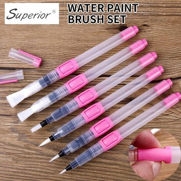 BGLN 6Pcs Water Brush Water Paint Brush Set Large Capacity Soft Watercolor Painting Brush Pen For Beginner Drawing Art Supplies