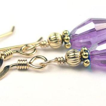 Dainty Gold Handmade Purple Crystal Drop Earrings - Alexandrite June Birthstone