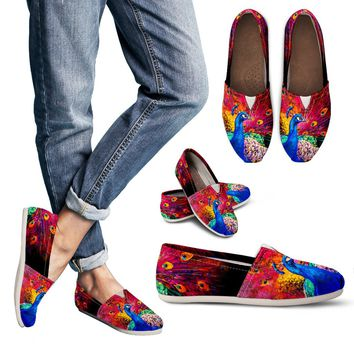 Peacock Painting Casual Shoes