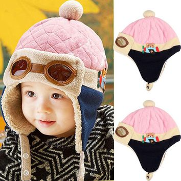 Free Shipping Fashion Design Boys Girls Winter Warm Cap Hat Beanie Pilot Crochet Earflap Hats 10 to 48 Months Baby Winter Hat