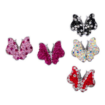 5PCs Snap Buttons Fit Snap Bracelet Rhinestone Butterfly Polymer Clay 19x23mm New Design Jewelry Findings