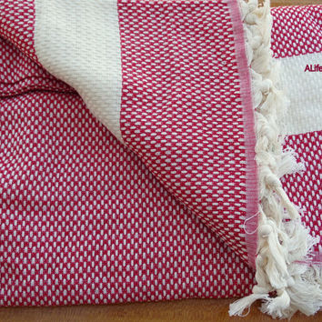 Cherry red colour Turkish cotton square patterned double size blanket, bed spread, bed cover, camping blanket, throw blanket.
