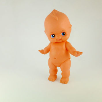 Vintage Rubber Baby Doll Large Rubber Baby, Poseable Arms, Legs and Head, Bath Toy