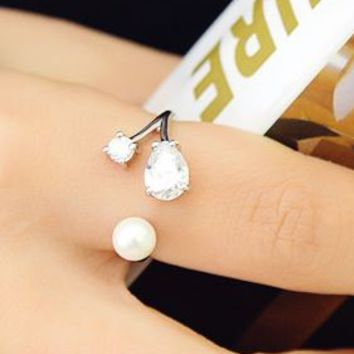 Pearl and Rhinestone Dots Double Layer Cuff Ring (Slightly Adjustable) - LilyFair Jewelry