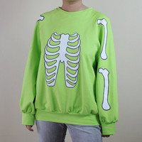 Skeleton Halloween sweater spring green by TianYangTees on Etsy