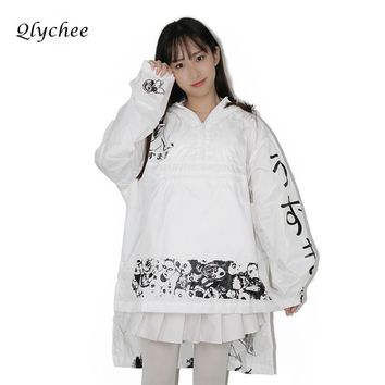 Qlychee Spring Autumn Women Jacket Coat Anime Print Long Sunscreen Loose Asymmetry Ladies Basic Jackets Female Thin Coats