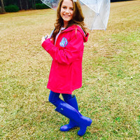 Charles Rivers Rain Jacket with Lilly Pulitzer Fabric with a double monogram