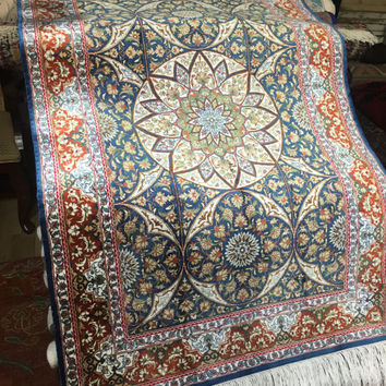 PERSIAN SILK QUM 3x5 Persian Rug Vintage Silk Rug with Star/Mandala Medallion. Offers Accepted ~Gypsy Rugs C1