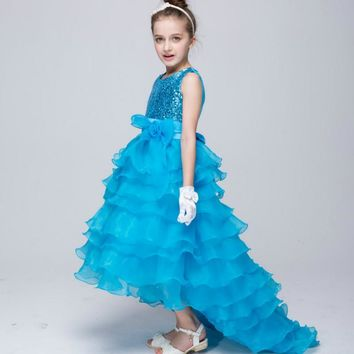 Baby Girl Cake Dress for 3-12 Years Kids Long Tail Sequined Princess Dress Girls Wedding Clothes Teenagers Birthday Costume 1L31