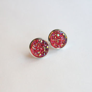 NEW - Grapefruit Red Chunky Faux Druzy Glitter Earrings - Posts/Studs 12mm LARGE