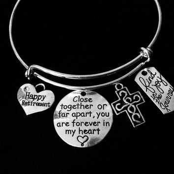 Happy Retirement Enjoy the Journey Expandable Charm Bracelet Close Together or Far Apart You are Forever in My Heart Silver Adjustable Bangle On Size Fits All Gift