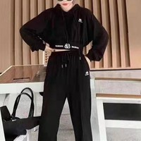 """ Dior"" Woman's Leisure Fashion Letter Personality Printing  Zipper Long Sleeve Hooded Tops Trousers Two-Piece Set Casual Wear"