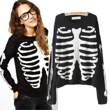 PEAPDQ7 Cool Skull Printed Long Sleeve Sweater Pullovers