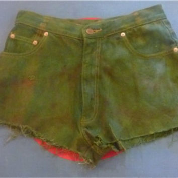 Green Tie Dyed Denim Cut Off Shorts by HOUSEOFTEIWIATA on Etsy