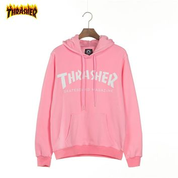 THRASHER Tide brand couple loose loose hooded hoodie pink