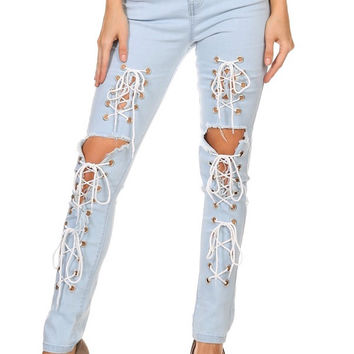 Nirvana Front Lace Up Denim