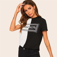 Casual Two Tone Letter Print Tee Short Sleeve T Shirt Women O-Neck Color-block Tshirt Tops