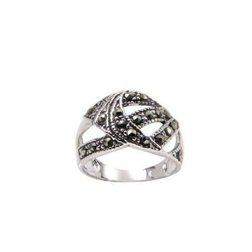 Sterling Silver Abstract Chevron Band Ring With Genuine Marcasite Stones in Rhodium Plate Finish