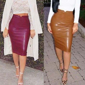*Online Exclusive* High-Waist Faux Leather Pencil Skirt
