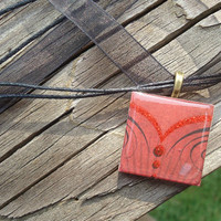 Red Corset A pendant charm necklace made from a wood by KKMaries