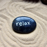 Relax Word Rock for Zen Garden - Worry Stone Painted Rock - Relaxing Counseling Psychology Gift - Stressed Gift for Dad - Calming Stones