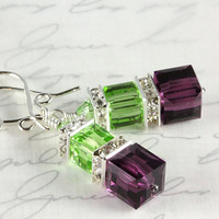 Amethyst and Peridot Crystal Earrings, Swarovski, Stacked Cubes