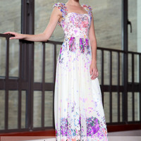 Purple Multicolor Floral Cap Sleeves Princess Prom Evening Formal Dress DQ830866