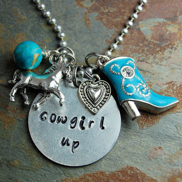 Cowgirl Necklace Handstamped Rhinestone Turquoise Boot  Silver Western Jewelry