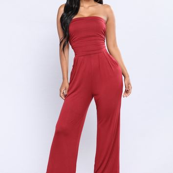 Well Being Tube Jumpsuit - Burgundy