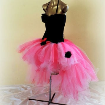 Adult tutu dress, corset tutu dress,boudoir burlesque, goth bridal dress, hot pink black, goth wedding, steampunk tutu dress