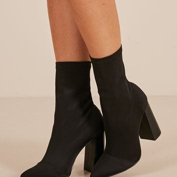 Therapy Shoes - Saxon Boots in black lycra Produced By SHOWPO