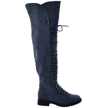 Womens Over the Knee Lace Up Combat Boots Navy