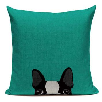Boston Terrier Dog Peeking Cartoon Face Green Pillow B5
