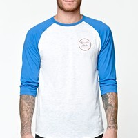 Brixton Wheeler 3/4 Sleeve Knit Gray T-Shirt - Mens Tee - Blue
