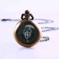 Skyrim emblem cabochon Necklace ,Vintage Watch Necklace,Vintage bronze style Skyrim emblem cabochon dome inspired glass cabochon