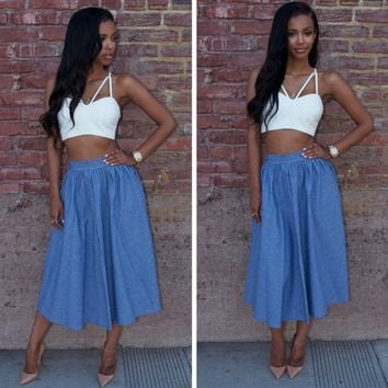 Sexy Shoulder Straps Vest Leisure Skirts two-piece